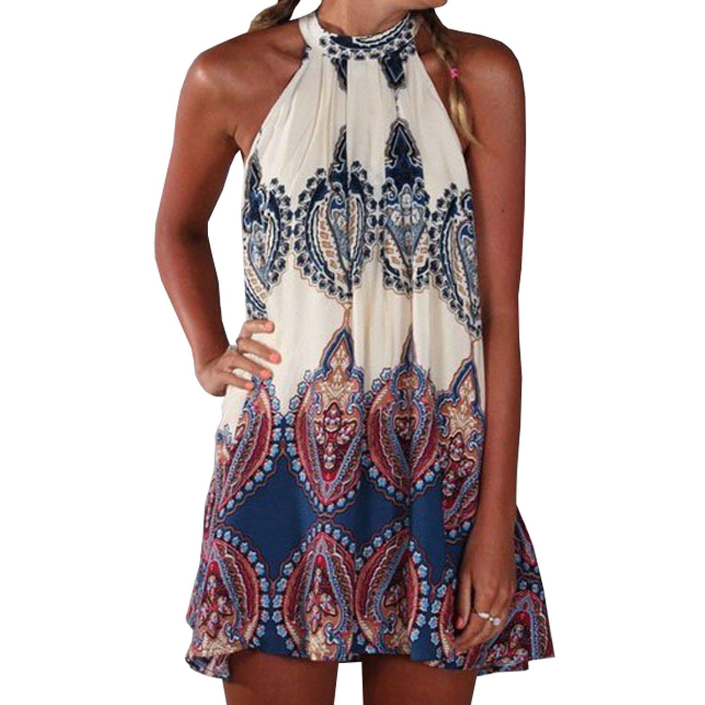 SUNNOW® NEU Damen Sommerkleid Strandkleid Oberteile Sexy beiläufig loses Blumen gedruckt ärmellos modisch Minikleid Frauen Partykleid Abendkleid