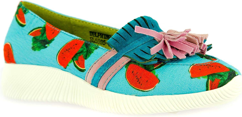 Delphine 08 Style Original Basket Chaussures de Ville /Ét/é Cuir Femmes Turquoise avec Semelle Comfortable LAURA VITA