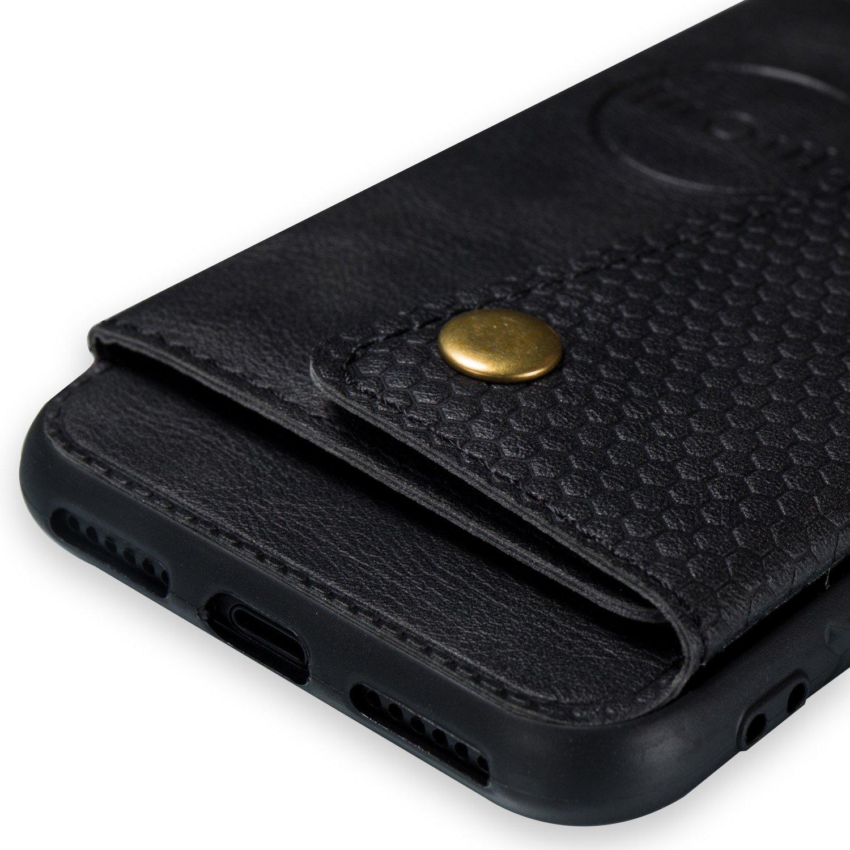 Shinyzone Custodia per iPhone 7,Custodia iPhone 8 Portafoglio Tasca con Porta Carte,Flip Cover Posteriore in Pelle con Chiusura Magnetica Fibbia Supporto Magnetico Auto,Grigio