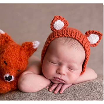 Luxury cute newborn boy girl baby costume outfits photography props hat little fox orange