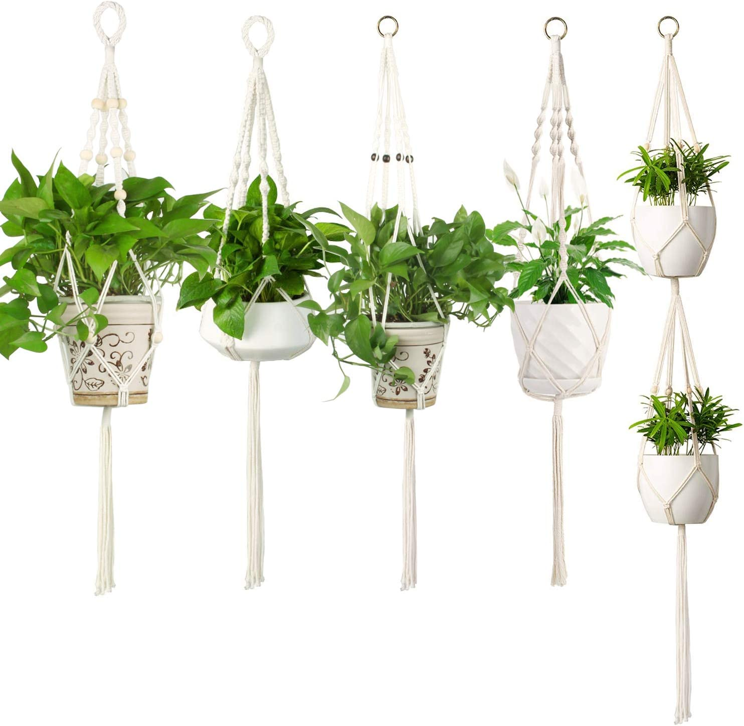 Hanging Plant Holder E-Know Macrame Plant Hanger 5 Pack Hanging Planter/Indoor Outdoor Handmade Cotton Rope