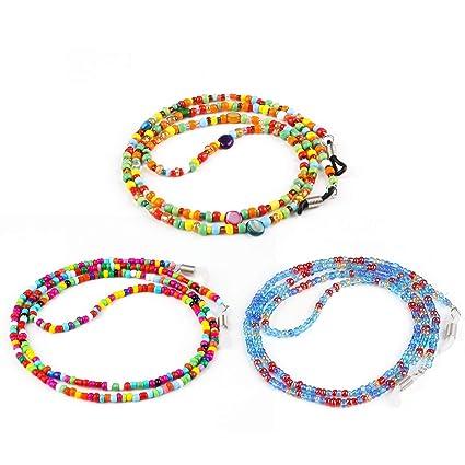 Hifot Correa Gafas 3 Piezas, Perlas Cuerda Gafas de Sol, Retenedor Cadenas Gafas Lectura para Mujer Hombre niño