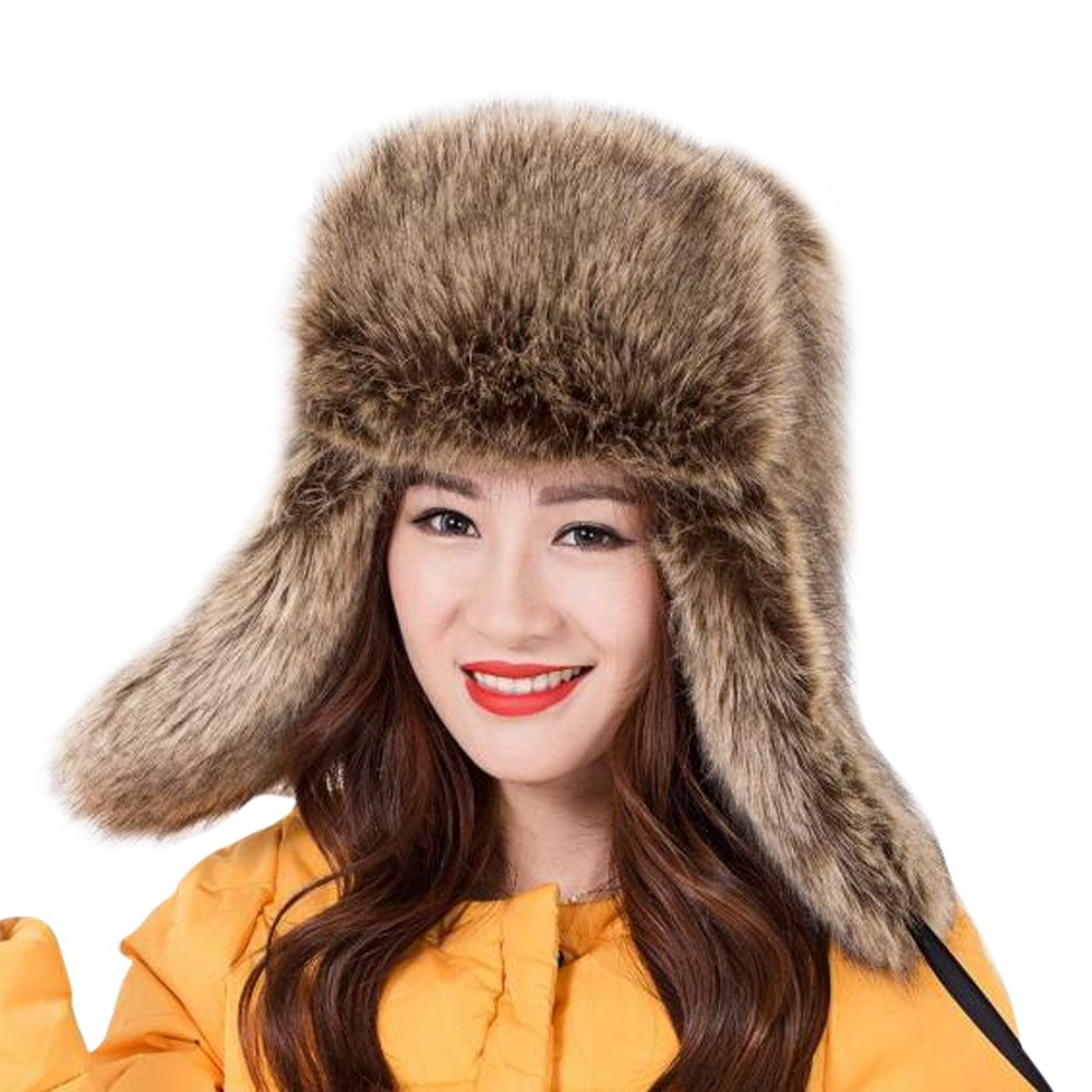 Dikoaina Faux Fur Snow Trapper Hat with Ear Flap for Skiing Head Circumference 22''-22.8''