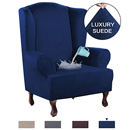 Peachy H Versailtex Stretch Wing Chair Cover Velvet Plush Water Repellent Suede Fabric Slipcovers For Wingback Chairs Wingback Chair Cover 1 Piece With Pdpeps Interior Chair Design Pdpepsorg