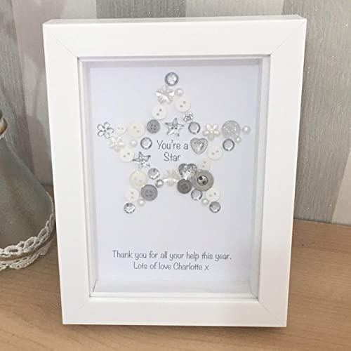 You Re A Star Button Picture Personalised Thank You Gift For Teacher Friend Family Vet Colleague Staff Family Tutor Nursery Assistant Christmas End Of Term Leaving Gift Amazon Co Uk Handmade
