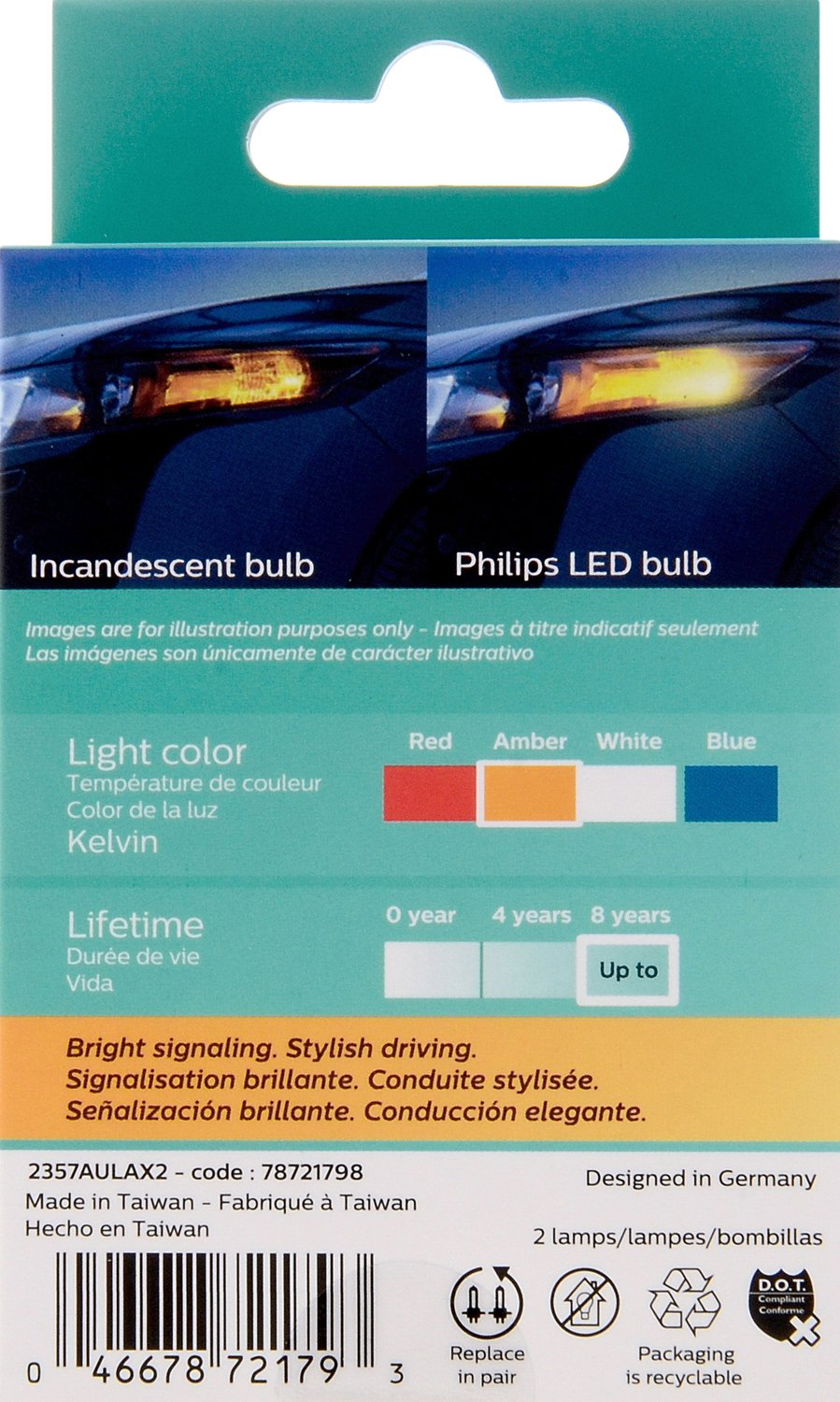 Red 2 Pack Philips 2357 Ultinon LED Bulb