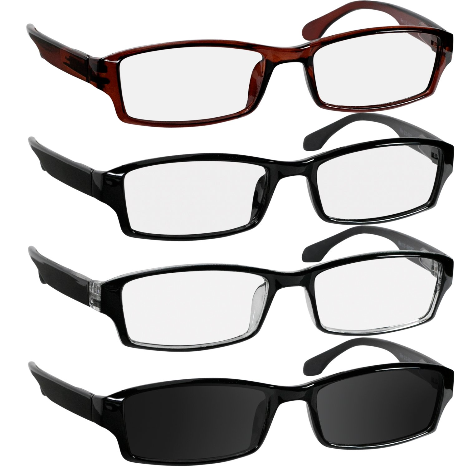 3cf53948e2 Amazon.com  Reading Glasses 1.75 Black Brown Tuxedo   Sun Black Readers for  Men   Women - Spring Arms   Dura-Tight Screws Have a Stylish Look and  Crystal ...
