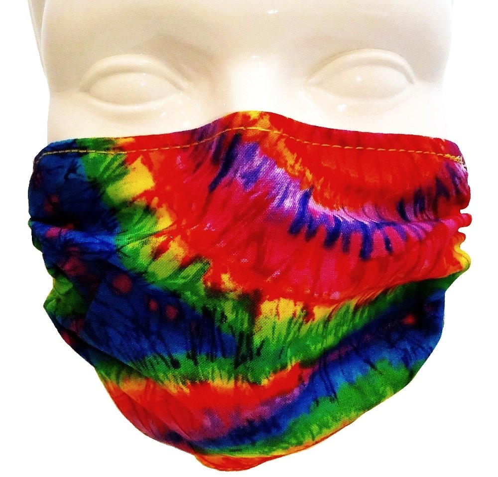 Breathe Healthy Face Mask for Dust, Allergy and Flu; Adjustable Ear Loops, Washable Tie Dye Design (Adult) by Breathe Healthy® Masks