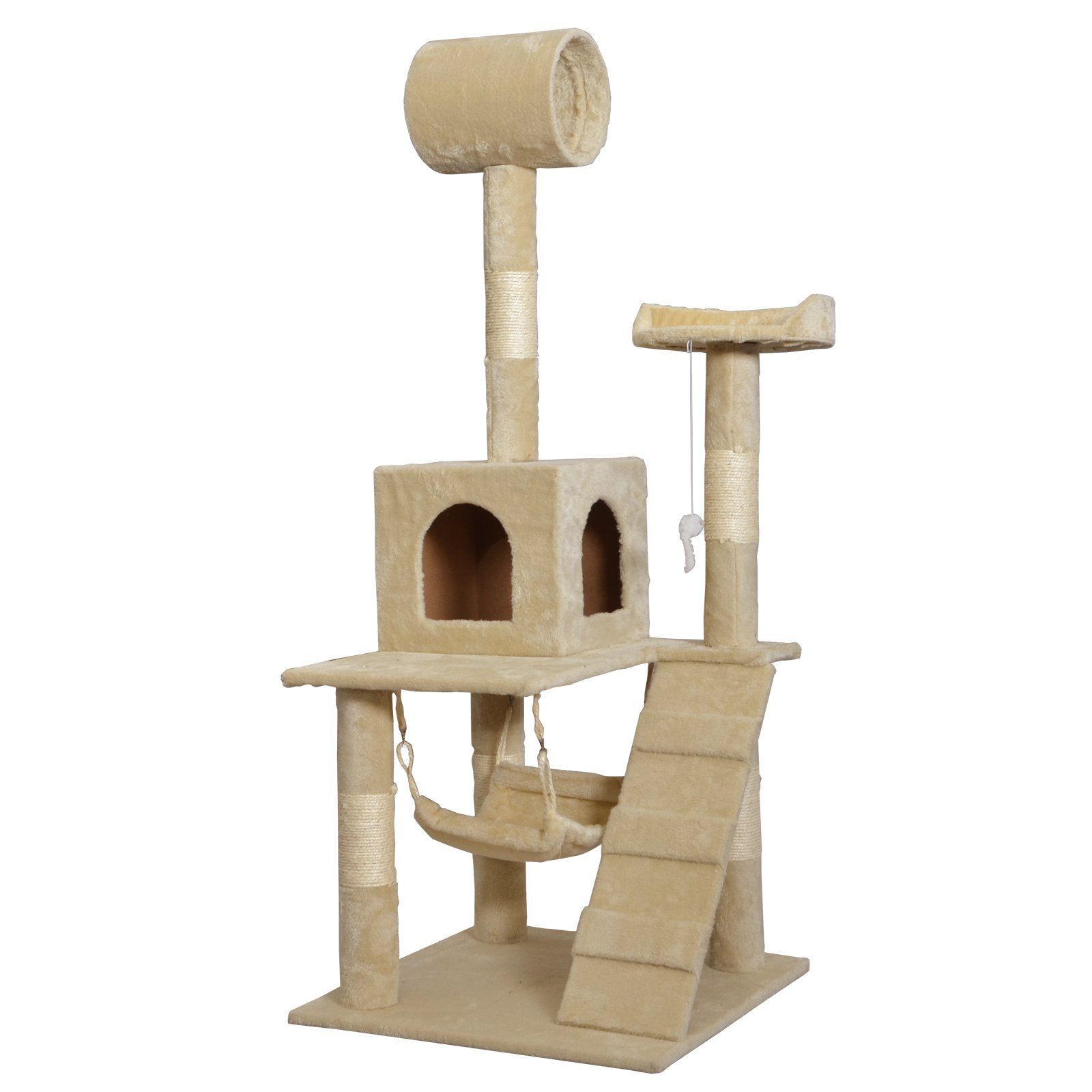 Beige 57'' Cat Tree Tower Condo Scratcher Furniture Kitten House Hammock