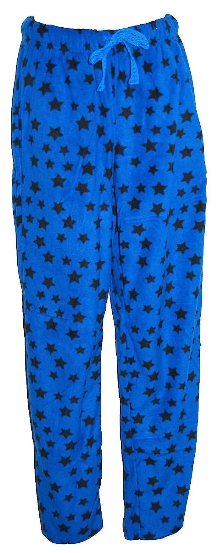 Mens Blue and Black Star Design Fleece Pyjama Bottoms Sizes XS S M L XL XXL