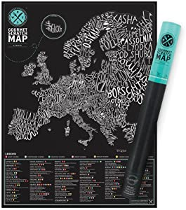 Food Scratch Map – Foods of Europe Scratch Off Map – Unique Foodie Scratch Poster – Fun Map Décor  – Makes an Ideal Travel Gift – Gift for Food Lovers - Black & White