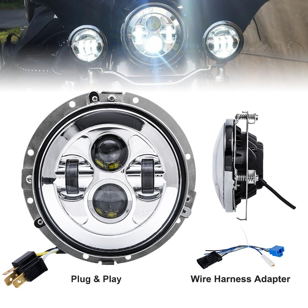 Amazon.com: Liteway 7\'\' 80W Harley LED Headlight Davidson Projector ...