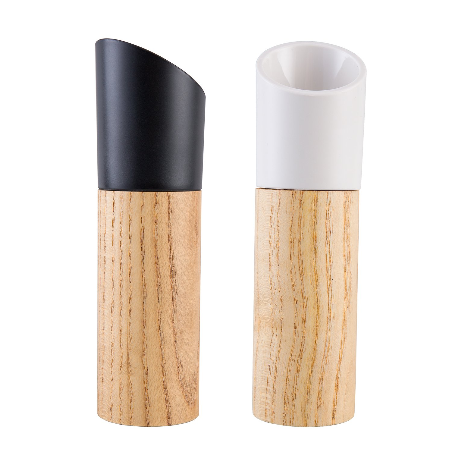 GRACE Wood Salt and Pepper Grinder Set of 2-Salt and Pepper Shakers with Adjustable Ceramic Rotor-Pepper Mill and Salt Mill By
