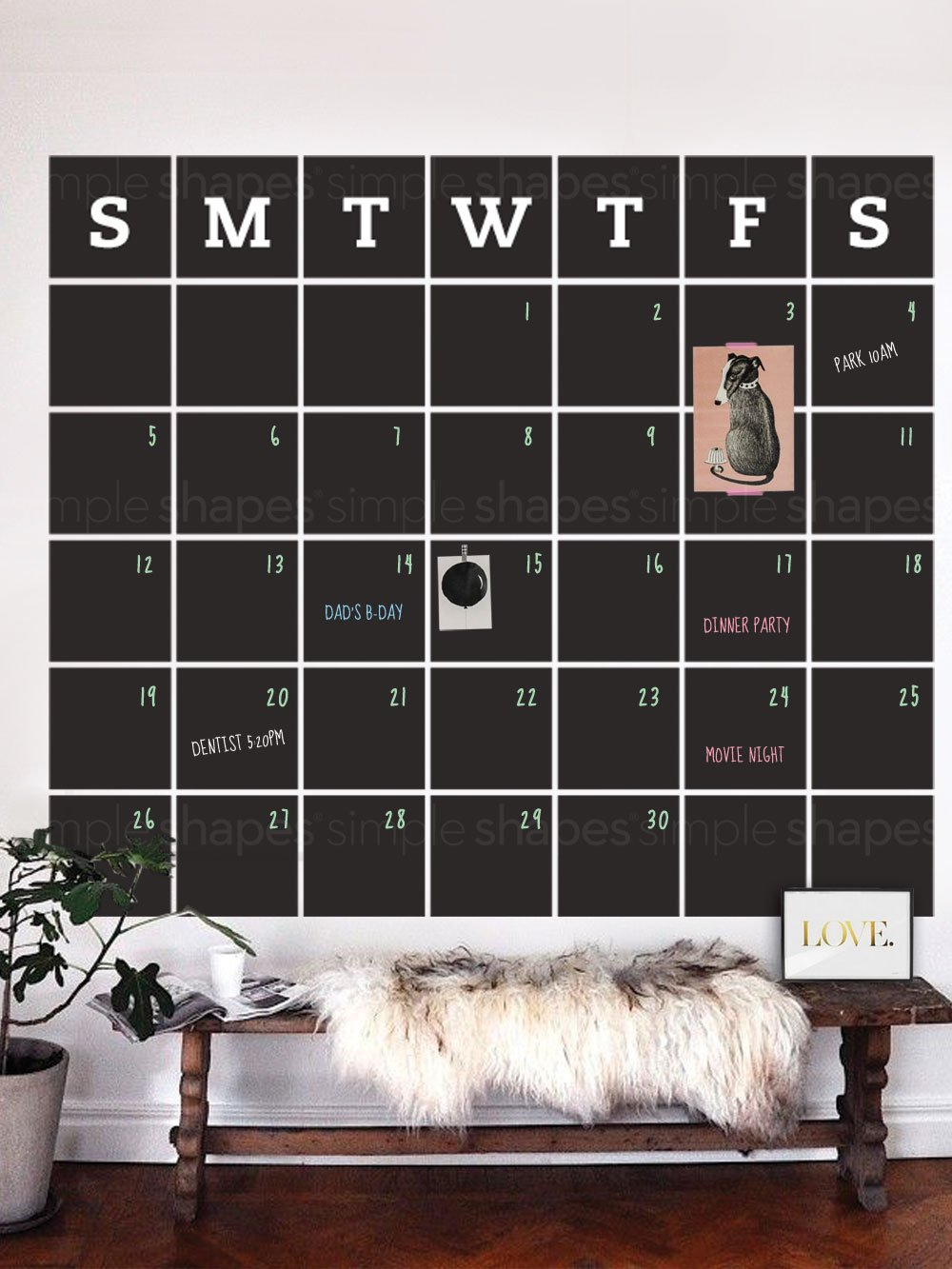 Chalkboard Wall Decal Calendar, Blackboard Calendar, Wall Calendar - Extra Large - by Simple Shapes