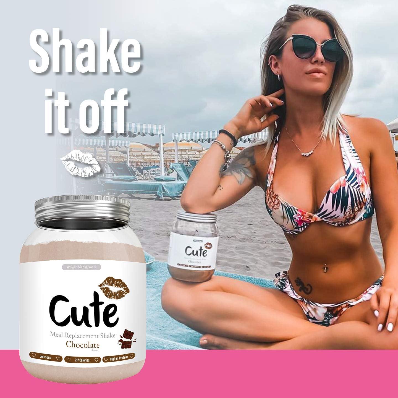 Cute Nutrition Batido Sustitutivo de Comida Sabor Chocolate para el Control de la Pérdida de Peso en Polvo Bebida Dietética para Mujer Bote de 500 g