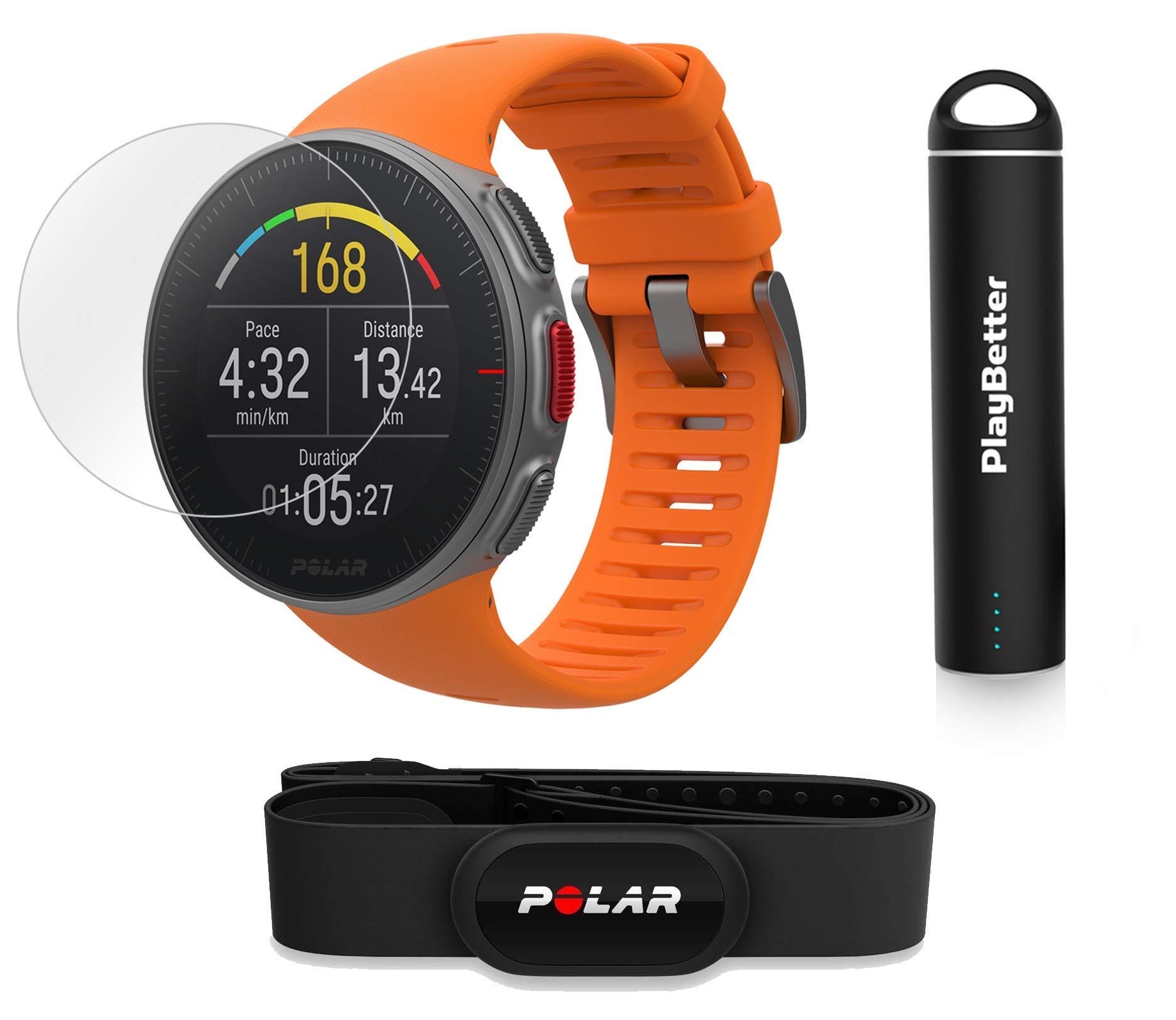 PlayBetter Polar Vantage V Pro (Orange with H10 Heart Rate Sensor) Power Bundle Portable Charger & Screen Protectors | Multisport Watch | GPS & Barometer