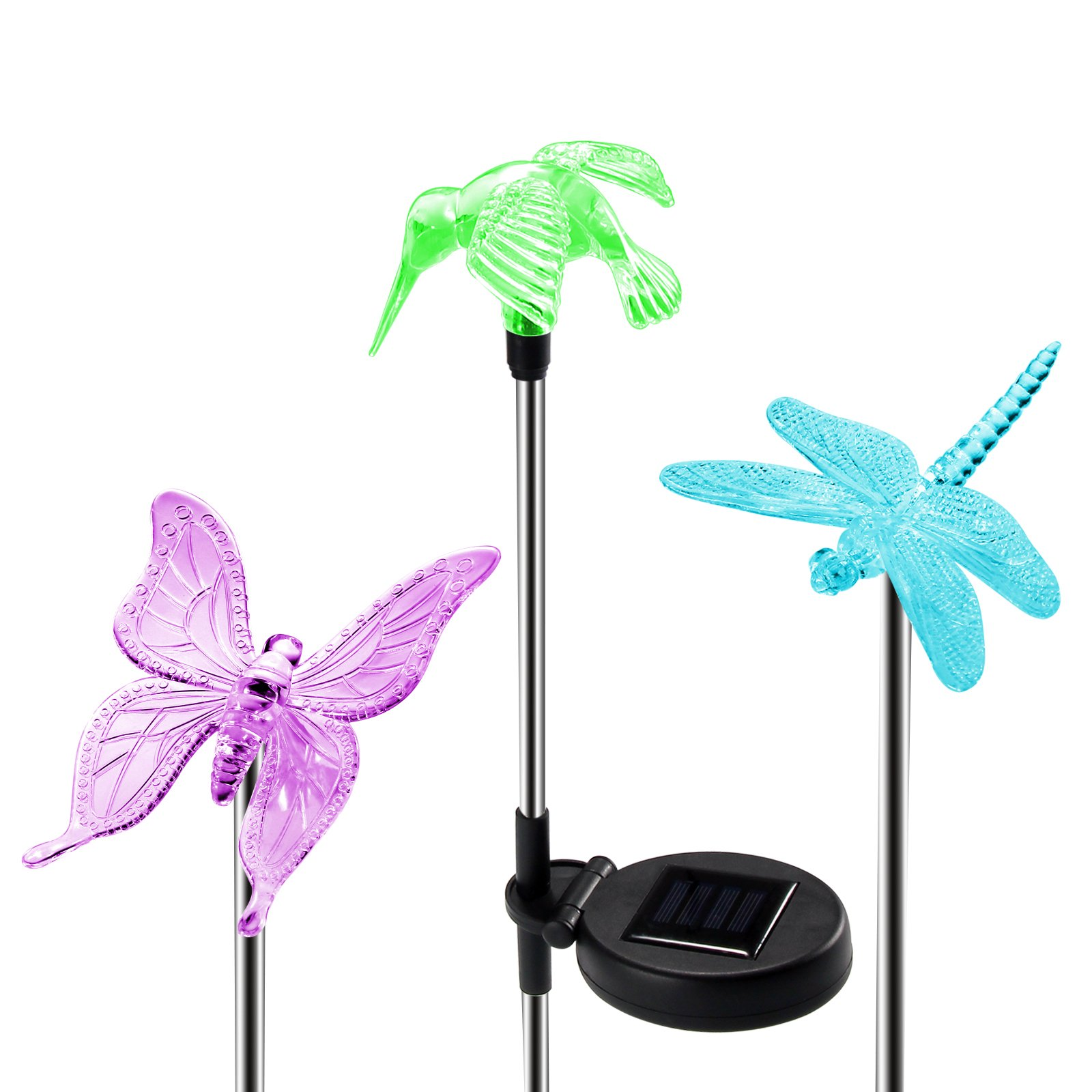 OxyLED Solar Garden Lights, 3 Pack Solar Stake Light Hummingbird Butterfly Dragonfly, Solar Powered Pathway Lights, Multi-Color Changing LED Lights, Outdoor Lighting for Garden/Patio/Lawn
