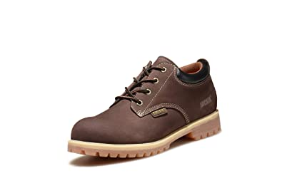 aaed956862c Men's LowCut or Mid Cut Work Boots Water Resistant Boots Heavy Duty Natural  Rubber Blend Soles with Steel Toe Option (12, Brown)