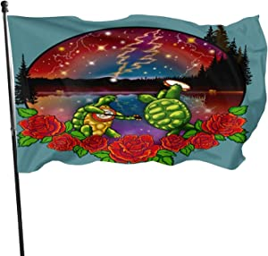 Bycocby Gra-Te-Ful Dead Skull Rose Home Garden Flag Yard Outdoor Indoor Decorative Banner with Brass Grommets Flag 3x5 Foot