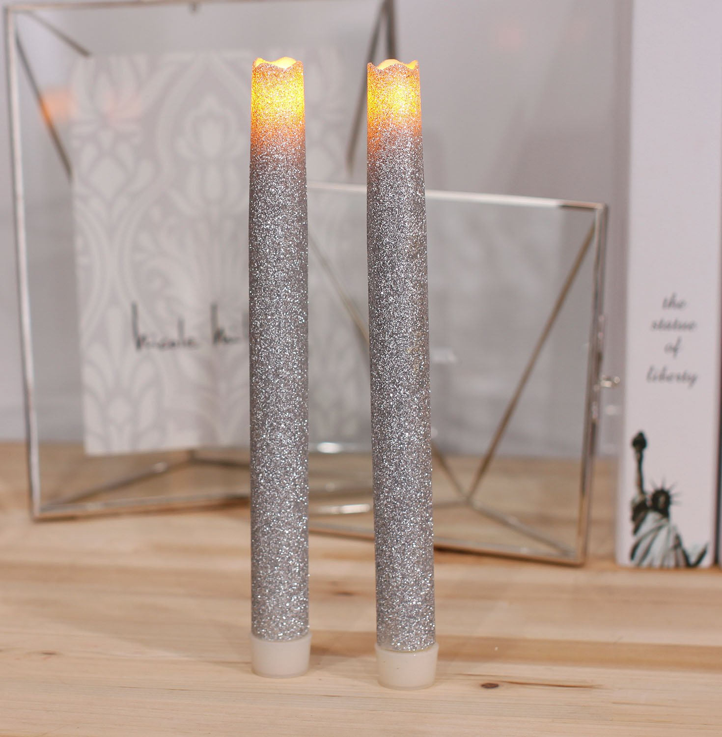 9 Inches Melted Led Taper Candles with Timer,Battery Operated,with Silvery Glitter,Pack of 2