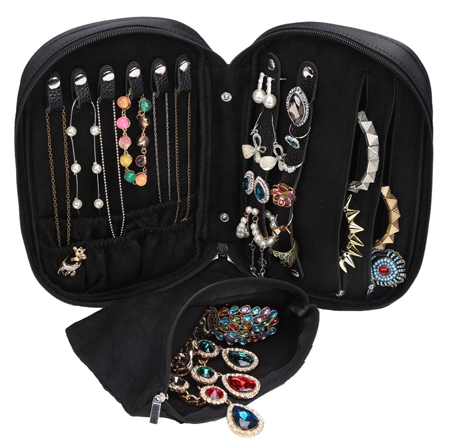travel jewelry case carry on zipper organizer necklaces