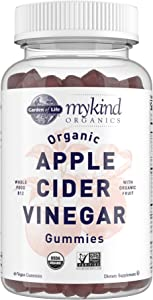 Apple Cider Vinegar Gummies by Garden of Life mykind Organics – USDA Organic ACV Gummy Vitamins Made with Real Fruit Blend, Whole Food Vitamin B12 - Vegan, Gluten Free, Non-GMO, Kosher - 60 Gummies