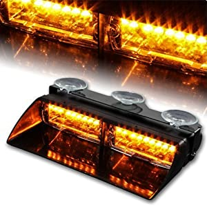 WoneNice 16 LED High Intensity LED Law Enforcement Emergency Hazard Warning Strobe Lights 18 Modes for Interior Roof/Dash / Windshield with Suction Cups (Amber)