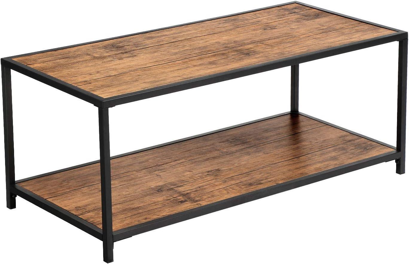 per Soggiorno Resistente e Facile da Montare Set di 3 Tavolini da caff/è Marrone Vintage e Nero LNT14BX Struttura in Acciaio Stile Industriale VASAGLE Tavolini ad Incastro