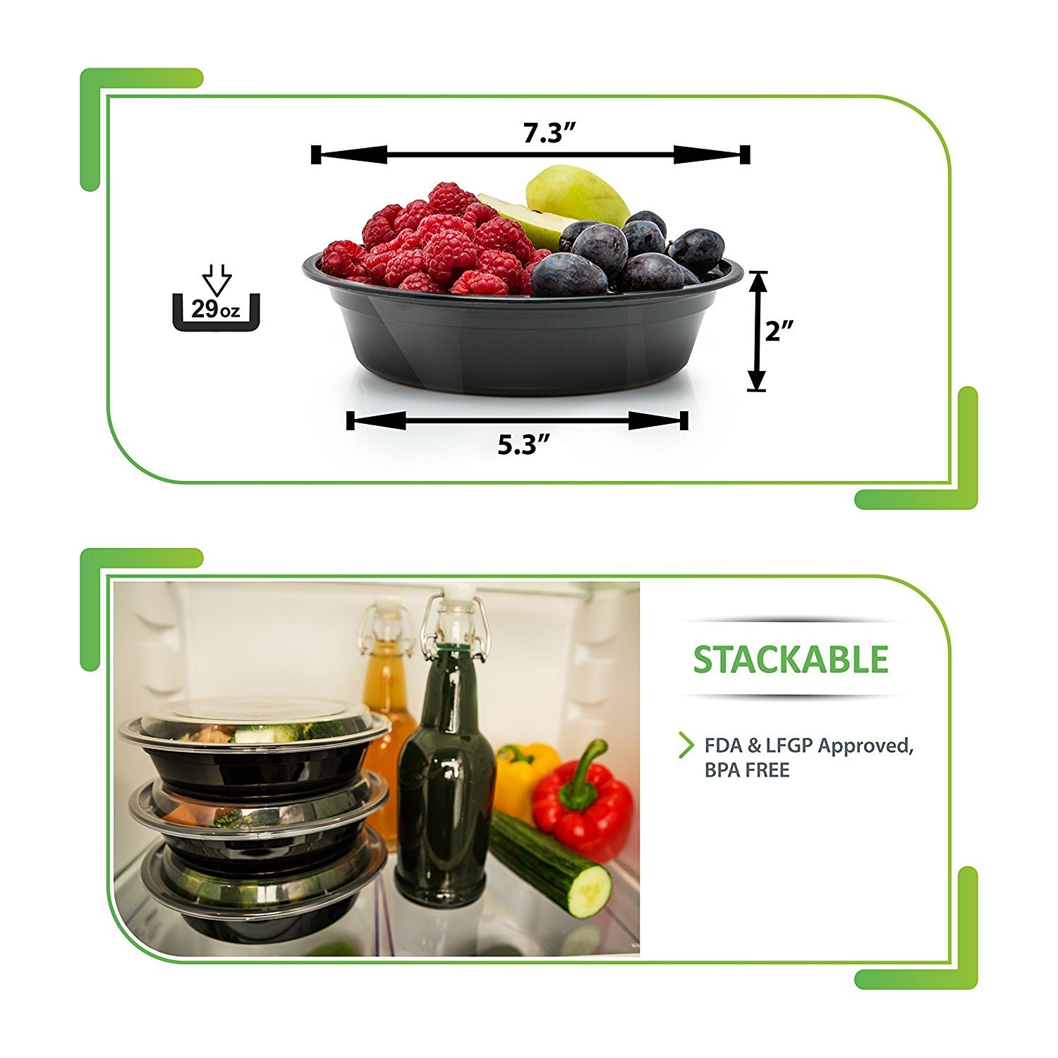 30 Meal Prep Containers Reusable - Disposable Food Containers Meal Prep Bowls - Plastic Containers with lids - Plastic Food Storage Containers with Lids - Lunch Containers for adults to go Containers by Prep Naturals (Image #5)