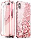 iPhone Xs Max 手机壳,i-Blason [Cosmo] 全身闪亮闪亮透明防撞手机壳带内置屏幕保护膜,适用于 iPhone Xs Max 6.5 英寸(2018 版本)iPhoneMax-6.5-Cosmo-SP-Pink 粉红色