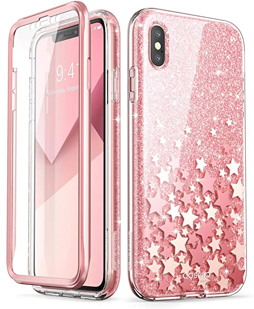 new style 9889b e6e59 i-Blason Cosmo Full-Body Bling Glitter Sparkle Clear Bumper Case Built-in  Screen Protector for iPhone Xs Max 2018 Release, Pink, 6.5