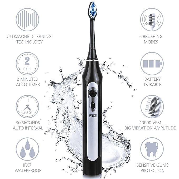 YASI Cepillos de Dientes Eléctricos Sónicos Impermeable 5 Modos 40,000VPM 3 Cabezales Reemplazables para Limpieza Dental Higiene Oral y Lengua(Negro): ...