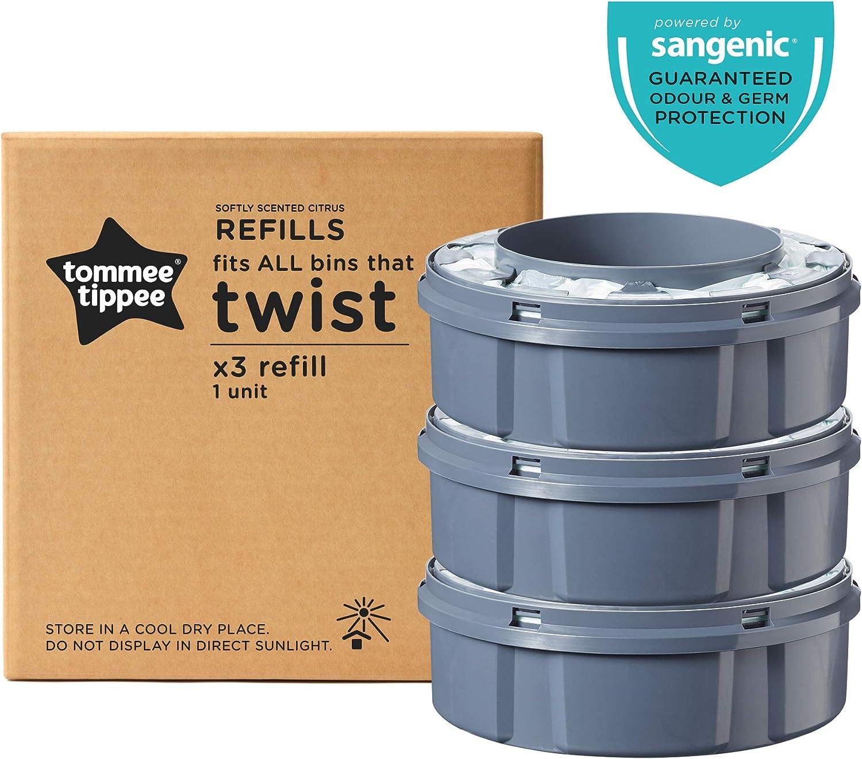 Tommee Tippee Sangenic Recambios Sistema avanzado para desechar pañales Twist & Click, paquete de 3 (compatibles con los contenedores Sangenic TEC y Twist and Click)