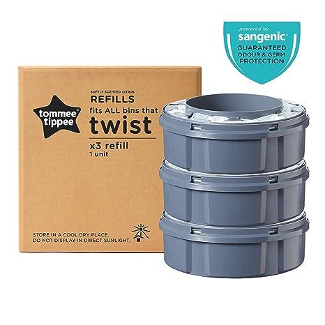 Tommee Tippee Sangenic Recambios Sistema avanzado para desechar pañales Twist & Click, paquete de 3 (compatibles con los contenedores Sangenic TEC y ...