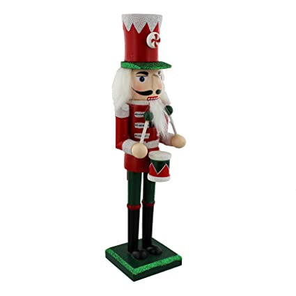 Christmas Drummer.Traditional Wooden Christmas Nutcracker Drummer Soldier Decoration Red Green White Christmas Glitter Detail 24cm
