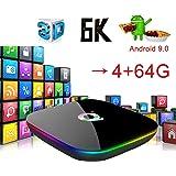 DoneCenter(TM) 2019 6K Q Plus 4+64GB Android 9.0 Pie Quad Core Smart TV Box WiFi 3D H.265 Media