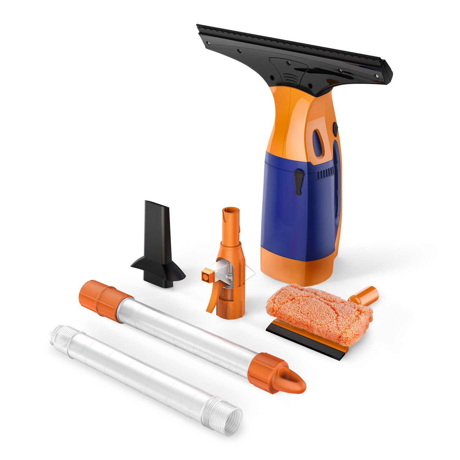 BESTEK Telescopic Window Vacuum Cleaner, Cordless Window Cleaning Rechargeable Tool Kit, with 2 Extension Telescopic Tube, Spray Bottle