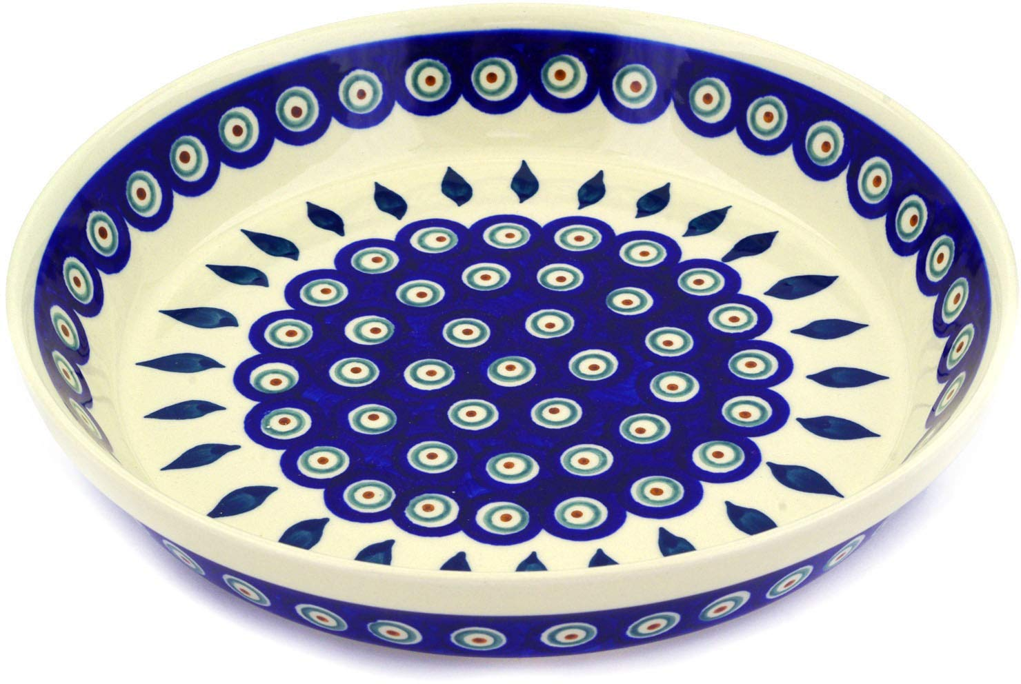 Polish Pottery 9½-inch Pie Dish (Peacock Leaves Theme) + Certificate of Authenticity