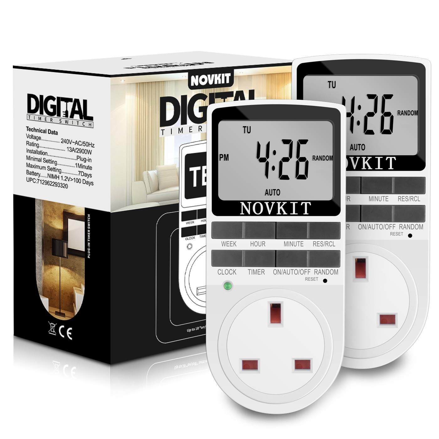 2 x NOVKIT Digital Security Timer Plug Socket Programmable Switch Timer with 10 ON-Off Programs and Random Mode for Home and Indoor (230V, 13A, 2900W)