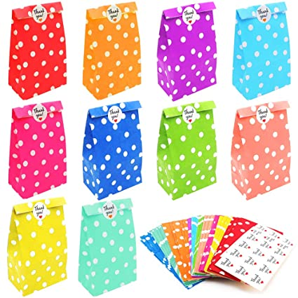Pulluo 50 pcs Bolsas Regalo Papel 10 Colores Bolsa de Papel ...
