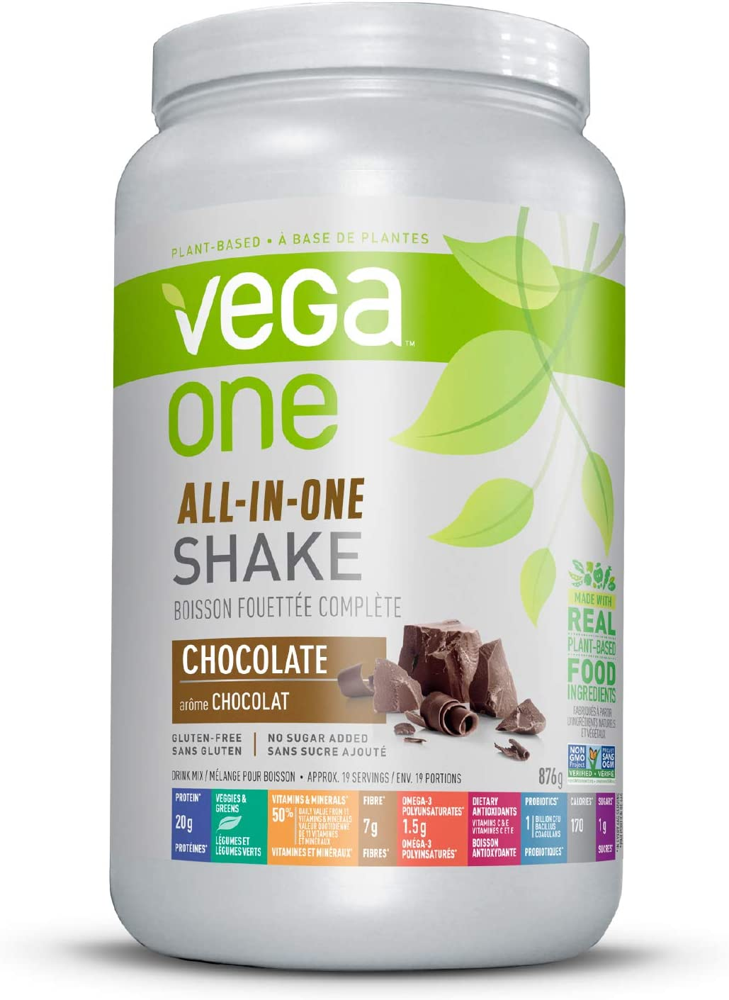 Vega One All-In-One Nutritional Shake Chocolate (19 Servings) - Plant Based Vegan Protein Powder, Non Dairy, Gluten Free, Non GMO, 30.9 Ounce (Pack of 1)