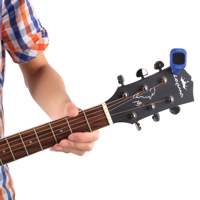 Afinador Electrónico Para Guitarra, Afinador Digital de Ukelele, Bajo, Violín, Cromático, Multi-modo, Pantalla Multi colores Grande 360⁰ Ajustable , Batería ...