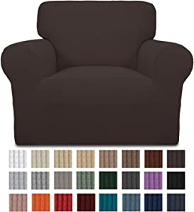Easy-Going Stretch Chair Sofa Slipcover 1-Piece Couch Sofa Cover Furniture Protector Soft with Elastic Bottom for Kids. Spandex Jacquard Fabric Small Checks(Chair,Chocolate)