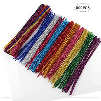 Shukii 500 Pcs Glitter Pipe Cleaners Tinsel Arts Chenille Stems in Assorted Colours Perfect for DIY Craft Projects Christmas Ornament Making - 10 Colors (Flash Color Mixing): Arts, Crafts & Sewing