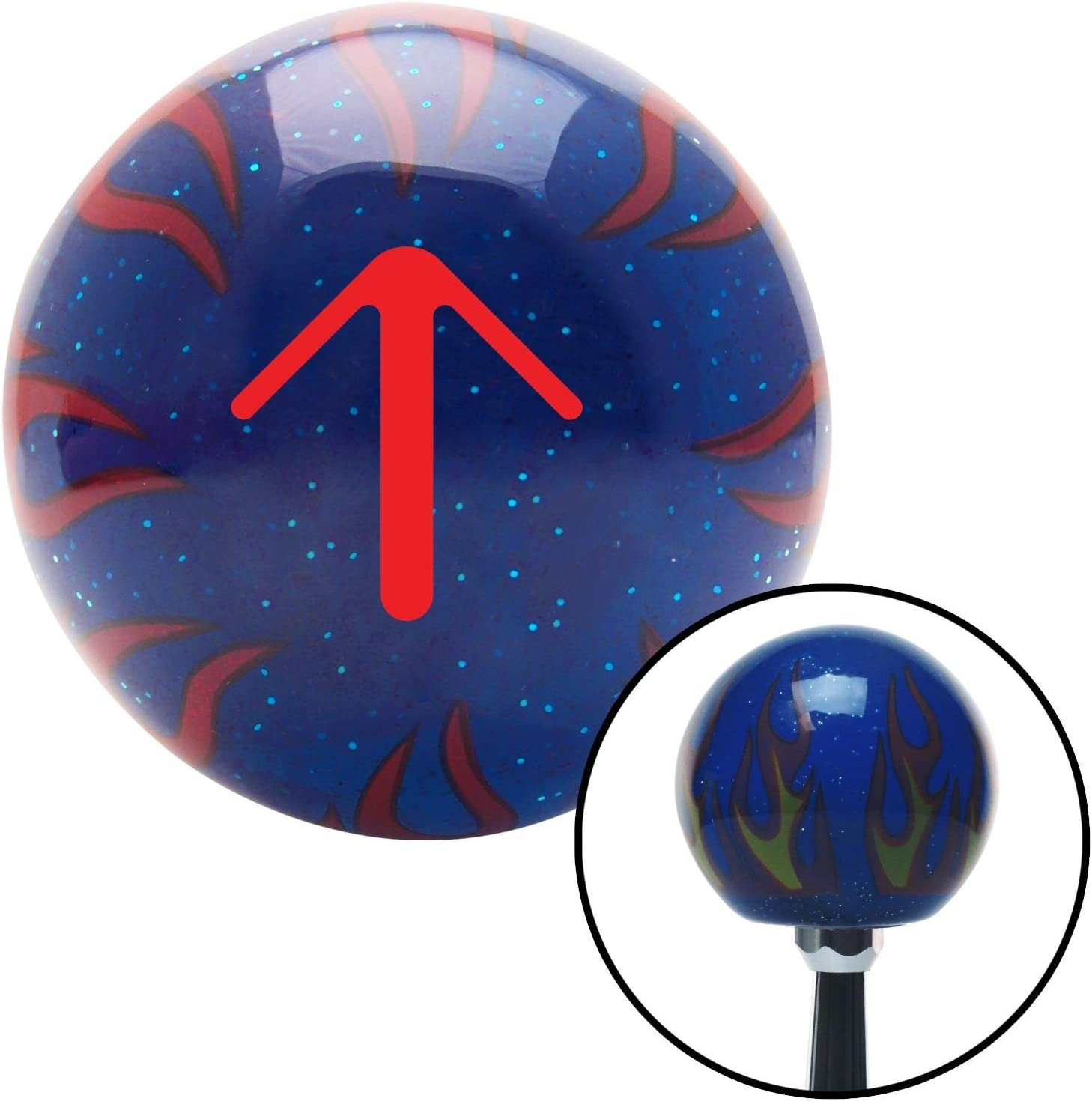American Shifter 244470 Blue Flame Metal Flake Shift Knob with M16 x 1.5 Insert Red Solid Pointing Arrow Up
