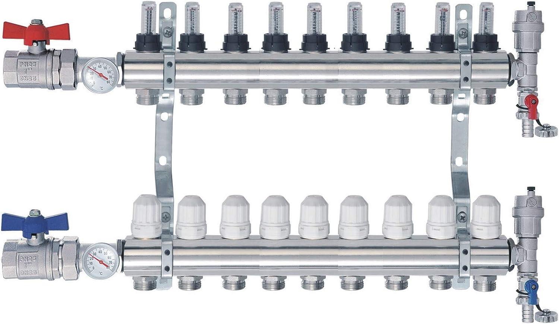 Heizkreisverteiler m Topmeter Flussmesser Kugelh/ähne Thermometer NORDIC TEC 9 Heizkreise