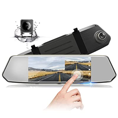 "TOGUARD Backup Camera 7"" Mirror Dash Cam Touch Screen 1080P Rearview Front and Rear Dual Lens with Waterproof Reversing Camera: Electronics"