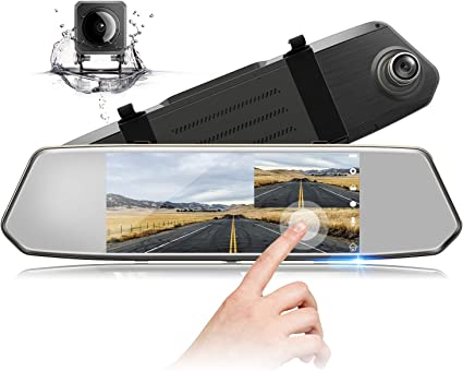 Mirror Dash Cam Espeace Dual Lens 4.3 Inch Touch Screen 1080P Full HD 170/° Wide Angle with Rear View Weatherproof Backup Camera with G-Sensor Parking Monitor Loop Recording