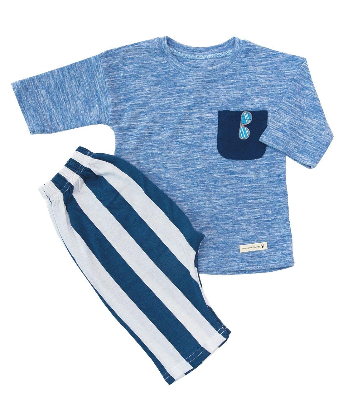 Lintto Pocket Sunglasses Embroidery Boys 2 Piece 3/4 Sleeves Pajama Set Cotton 100% Kids PJS Sleepwear (90(12-18M))
