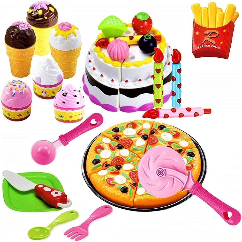 FUNERICA Pretend-Play, Cutting Food, Toy Pizza, Ice Cream, Fries, & Toy Birthday Cake | Includes Beautiful Plastic Storage Box | Complete Kids Toy Desserts Set